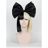 Synthetic Wig New Short Hair Bow Set Long Bangs Half Black Half Blonde Sia Styling Party Wigs High-end mesh black Big bow