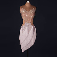cheap Dancewear & Dance Shoes-Latin Dance Dresses Women's Performance Spandex Crystals/Rhinestones Tassel Sleeveless Natural Dress