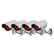 kingneo 4pçs falso câmera de segurança sem fios manequim cúpula CCTV LED luz