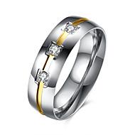 Anel Cristal Aço Inoxidável Aço Titânio imitação de diamante Moda Prata Jóias Diário Casual 1peça