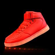baratos Sapatos Masculinos-Homens Levante-se Tênis Couro Ecológico Outono / Inverno Conforto Tênis Antiderrapante Dourado / Prateado / Vermelho