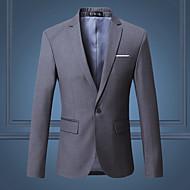男性用 プラスサイズ ブレザー - ストリートファッション ノッチドラペル スリム ソリッド