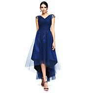Γραμμή Α Λαιμόκοψη V Ασύμμετρο Τούλι Ανοικτή Πλάτη Χοροεσπερίδα / Επίσημο Βραδινό Φόρεμα με Χάντρες / Χιαστί με TS Couture®