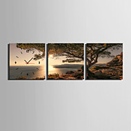 MINI SIZE E-HOME Coast Sunset Clock in Canvas 3pcs Wall Clocks