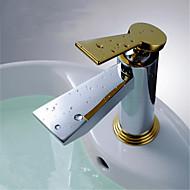 コンテンポラリー デッキマウント 滝状吐水タイプ with  セラミックバルブ 一つ シングルハンドルつの穴 for  クロム , バスルームのシンクの蛇口