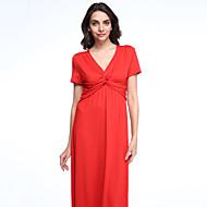 Mulheres Swing Vestido,Tamanhos Grandes Boho Sólido Decote em V Profundo Longo Manga Curta Azul / Vermelho / Preto / RoxoAlgodão /