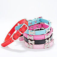 cheap Dog Collars, Harnesses & Leashes-Dog Collar Adjustable / Retractable Bone PU Leather Black Rose Red Blue Pink
