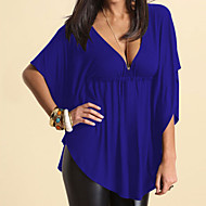 cheap -Women's Going out / Club Street chic Plus Size T-shirt - Solid Colored Pleated Deep V / Spring / Summer