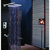 זול ברזים למקלחת-עכשווי מותקן על הקיר מקלחת גשם שפורפרת יד כלולה תרמוסטטי LED שסתום פליז שתי ידיות ארבעה חורים כרום , ברז למקלחת