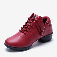 baratos Sapatilhas de Dança-Mulheres Tênis de Dança Couro Salto Franzido Salto Robusto Não Personalizável Sapatos de Dança Branco / Preto / Vermelho Escuro