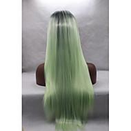 女性 人工毛ウィッグ フロントレース ストレート グリーン ナチュラルヘアライン ナチュラルウィッグ ハロウィンウィッグ カーニバルウィッグ コスチュームウィッグ