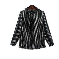 女性 お出かけ カジュアル/普段着 ホリデー シャツ,シンプル キュート タートルネック 水玉 ホワイト ポリエステル 長袖