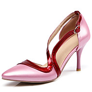 cheap Small Size Shoes-Women's Shoes Leatherette Spring / Summer Novelty / Slingback / Mary Jane Heels Stiletto Heel Pointed Toe Buckle / Split Joint Fuchsia /