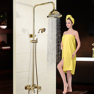 Traditioneel Modern Douchesysteem Waterval Wide spary Inclusief handdouche with  Keramische ventiel Single Handle twee gaten for  Chroom,