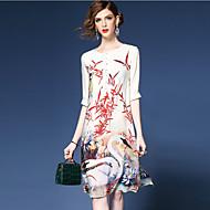 فستان نسائي A line النمط الصيني طول الركبة طباعة مناسب للخارج