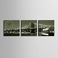MINI SIZE E-HOME Bridge Night Scenery Clock in Canvas 3pcs
