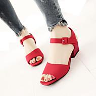 baratos Sapatos de Tamanho Pequeno-Mulheres Sapatos Flanelado Primavera / Verão Sandálias Salto Robusto Peep Toe Cinzento / Vermelho / Verde / Festas & Noite