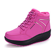cheap Women's Athletic Shoes-Women's Shoes Fleece Winter Fall Heels Creepers Round Toe Lace-up for Casual Orange Fuchsia