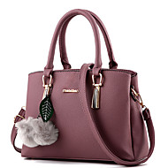 Women Bags Winter All Seasons PU Tote Rivet Fur for Formal Outdoor Office & Career Fuchsia Blue Pink Wine Dark Pink