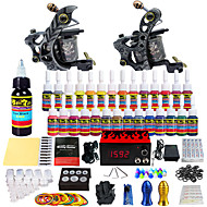 Tattoo Machine Starter Kit - 2 pcs Tattoo Machines with 28 x 5 ml tattoo inks, Professional LCD power supply Case Not Included 2 alloy machine liner & shader
