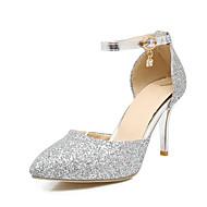 baratos Sapatos de Tamanho Pequeno-Feminino Sapatos Gliter Primavera Verão Outono Saltos Salto Agulha Dedo Apontado Lantejoulas Presilha para Casamento Casual Festas & Noite