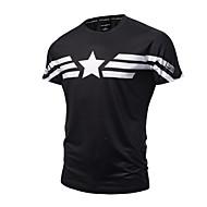 Masculino Camiseta Para Noite Casual Esportivo Simples Activo Punk & Góticas Todas as Estações,Estampado Preto Algodão PoliésterDecote