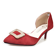 baratos Sapatos Femininos-Feminino Rasos Conforto Couro Ecológico Primavera Casual Conforto Rasteiro Preto Amarelo Cinzento Claro Vermelho Rosa Verde Rasteiro