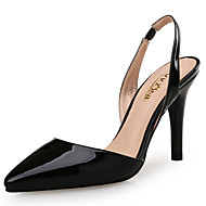 cheap Women's Sandals-Women's Shoes Patent Leather Summer / Fall Club Shoes Sandals Stiletto Heel Pointed Toe White / Black / Almond / Wedding