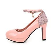 tanie Small Size Shoes-Damskie Obuwie Derma Brokat Wiosna Lato Szpilki Gruby obcas Block Heel Okrągły Toe Cekin na Casual Biuro i kariera Impreza / bankiet