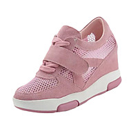 Women's Shoes PU Spring Summer Athletic Shoes Wedge Heel Pointed Toe Lace-up For Casual White Black Blushing Pink