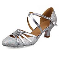 billige Moderne sko-Dame Sko til latindans / Salsasko Paljett / Lakklær / Kunstlær Sandaler / Høye hæler Spenne Kubansk hæl Kan spesialtilpasses Dansesko