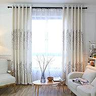 cheap Curtains & Drapes-Rod Pocket Grommet Top Tab Top Double Pleat Pencil Pleat Two Panels Curtain European, Print Cartoon Bedroom Linen/Polyester Blend Material