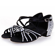 baratos Sapatilhas de Dança-Mulheres Sapatos de Dança Latina Cetim Sandália Cristais / Gliter com Brilho / Salto em Cristal Salto Agulha Personalizável Sapatos de