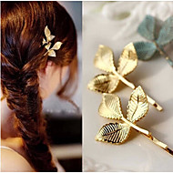 1 Pcs Three Leaf Edge Clip To Fashion A Word Alloy Headdress Woman Hair Accessory