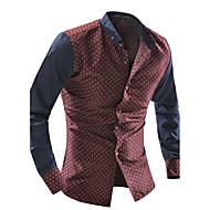 Langærmet Krave Herre Blå Rød Hvid Prikker Simpel Afslappet/Hverdag Skjorte,Bomuld