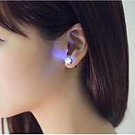 2pcs นำต่างหูสว่างขึ้นมงกุฎเรืองแสงคริสตัลสแตนเลสหูลดลงแกนหูเครื่องประดับต่างหู