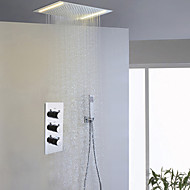 Modern Douchesysteem LED Regendouche Inclusief handdouche with  Keramische ventiel Drie handgrepen drie gaten for  Chroom , Douchekraan