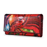 Women Bags All Seasons PU Cowhide Checkbook Wallet for Shopping Casual Black Purple Red