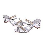 baratos Sapatos Femininos-Mulheres Sapatos Couro Ecológico Primavera / Verão Conforto Saltos Salto Baixo Tachas Dourado / Prata