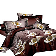 Duvet Cover Sets Novelty 4 Piece Polyester Reactive Print Polyester 4pcs (1 Duvet Cover, 1 Flat Sheet, 2 Shams)