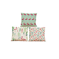 "cheap Throw Pillows-Set of 3 Flamingo Birds Cushion Cover 3 Styles Printed Linen Cushion Cover Creative Decoration  (18""*18"")"