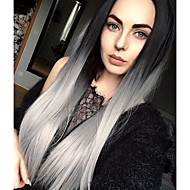 Sweety Ombre Silver grey Long Straight Synthetic Wigs