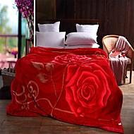 Korallenfleece Rot,Bedruckt Blumen / Pflanzen 100% Polyester Decken W180 x L200cm  W200 x L230cm