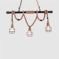3 fej rusztikus fém vízvezeték kender kötél függő világos nappali étkező függő lámpák