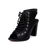 cheap Plus Size Shoes-Women's Shoes PU Spring Summer Gladiator Comfort Sandals Walking Shoes Chunky Heel Open Toe Lace-up for Athletic Party & Evening Black