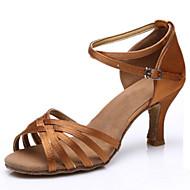 baratos Sapatilhas de Dança-Mulheres Sapatos de Dança Latina Cetim Sandália Presilha Salto Baixo Personalizável Sapatos de Dança Dourado / Preto / Castanho Escuro