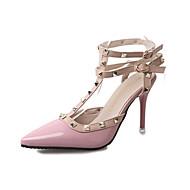Damer Hæle Komfort laklæder Forår Afslappet Gang Komfort Spænde Stilethæl Sort Rød Lys pink 5-7 cm