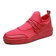 Erkek Ayakkabı PU Bahar Sonbahar Rahat Spor Ayakkabısı Bağcıklı Uyumluluk Günlük Siyah Kırmzı Siyah/Beyaz