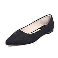 女性用 靴 PUレザー 春 夏 コンフォートシューズ フラット ローヒール ラウンドトウ のために カジュアル ブラック シルバー グレー