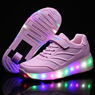 baratos Sapatos de Menina-Para Meninas Tênis Conforto Couro Ecológico Primavera Verão Outono Inverno Ar-Livre Casual Para Esporte Esquí Cadarço Colchete LEDSalto